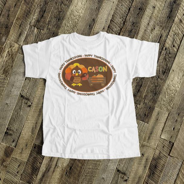 Thanksgiving shirt boy turkey and pumpkin personalized Tshirt