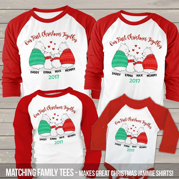 First Christmas together snow bear matching FOUR raglan shirt set
