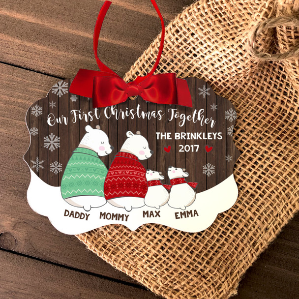 First Christmas together four snow bear personalized ornament