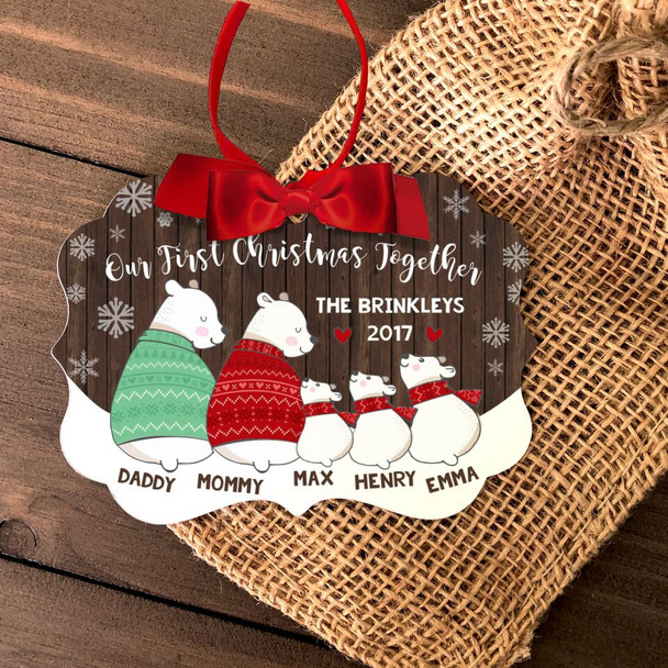 First Christmas together five snow bear personalized ornament