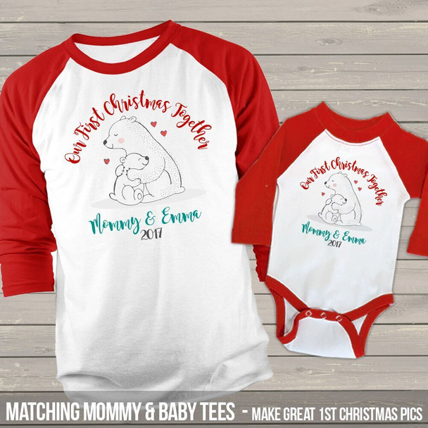 First Christmas together mommy baby snow bear raglan shirt set