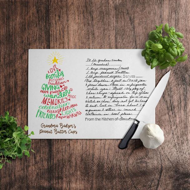 Christmas handwritten keepsake recipe cutting board