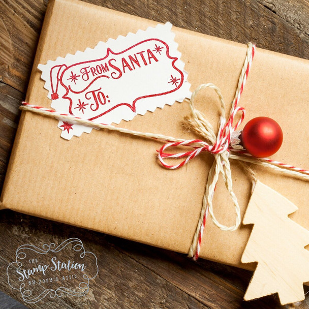 From Santa gift tag self inking stamp