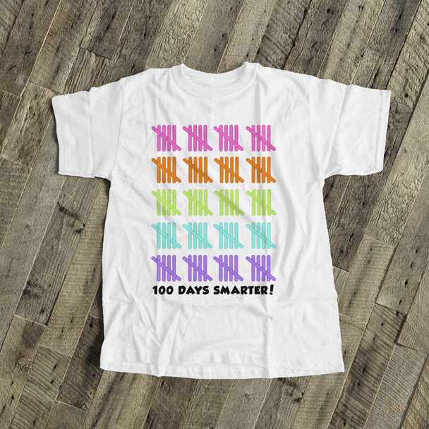 Student 100 days smarter tally marks Tshirt