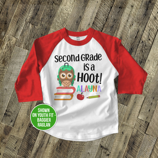 Second Grade (or any grade) is a hoot childrens personalized raglan shirt