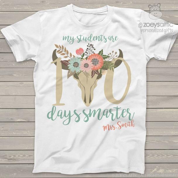 Teacher 100 days smarter cow head Tshirt