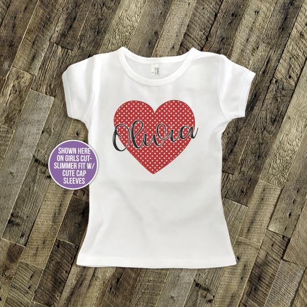 Valentine polka dot or buffalo plaid red heart personalized Tshirt
