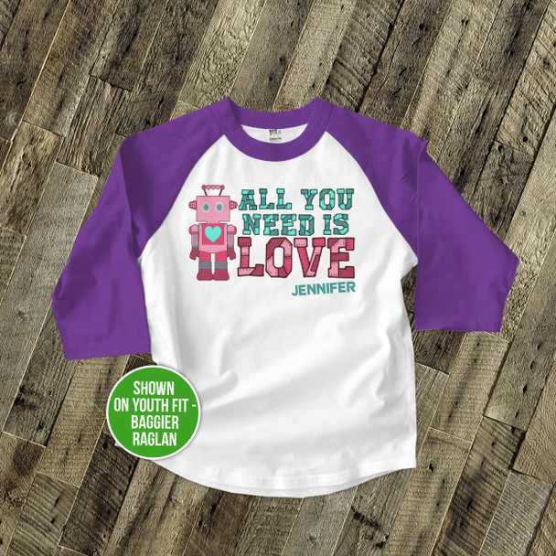 Valentine's Day robot girl personalized raglan shirt