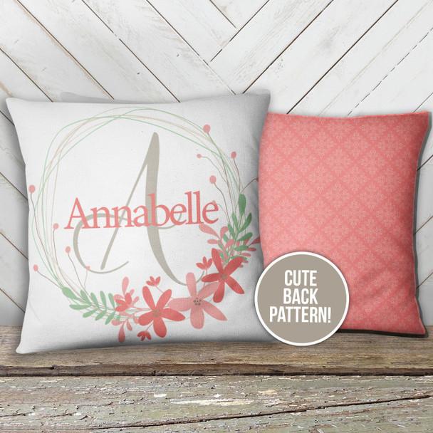 Monogram floral wreath throw pillow