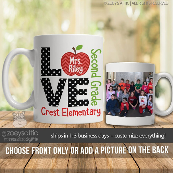 Teacher love apple personalized coffee mug