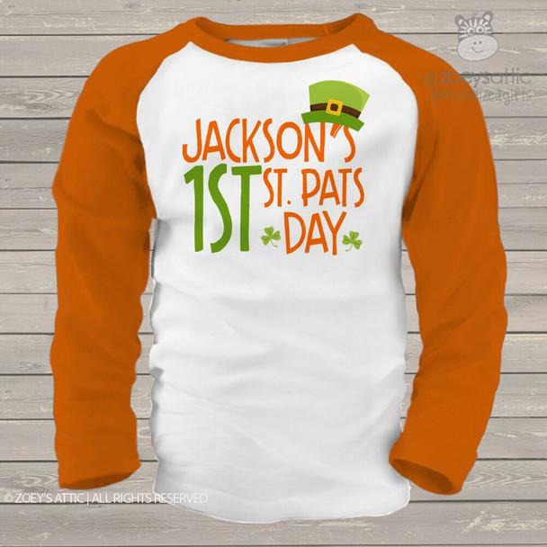 1st St. Pats Day leprechaun hat raglan shirt