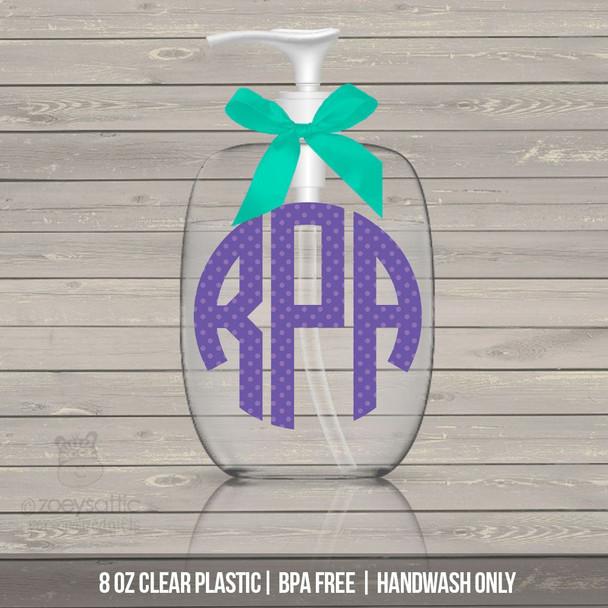 Polka dot monogram lotion or hand sanitizer or soap bottle personalized gift - BPA free