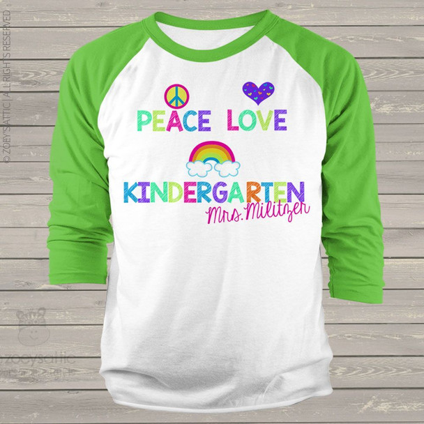 Teacher any grade peace love rainbow ADULT raglan shirt
