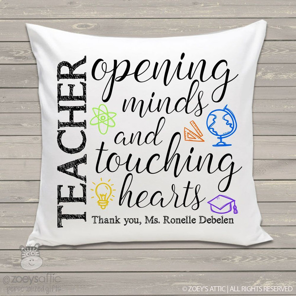 Opening minds and touching hearts teacher throw pillow