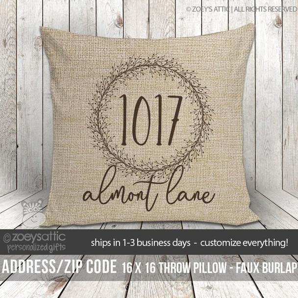 Address faux burlap porch pillow