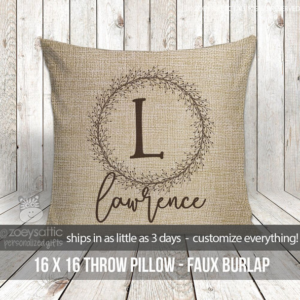 Initial with name faux burlap porch pillow
