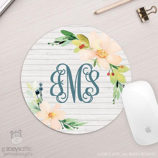 Monogram floral wood background round / circular mousepad