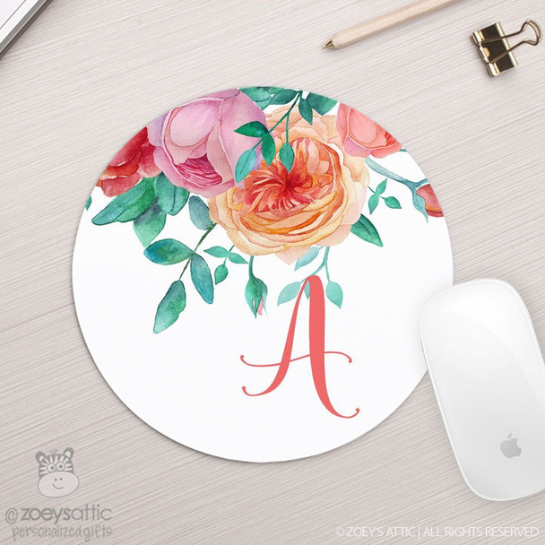 Initial floral round / circular mousepad