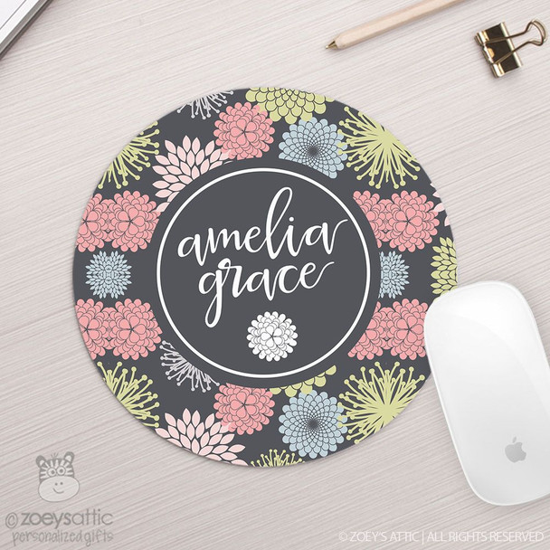 Flowery personalized round / circular mousepad