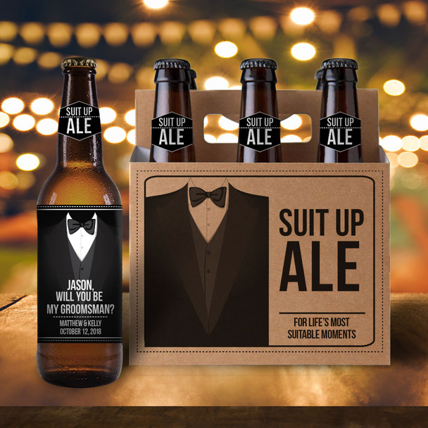 Will you be my groomsman six pack beer holder with labels