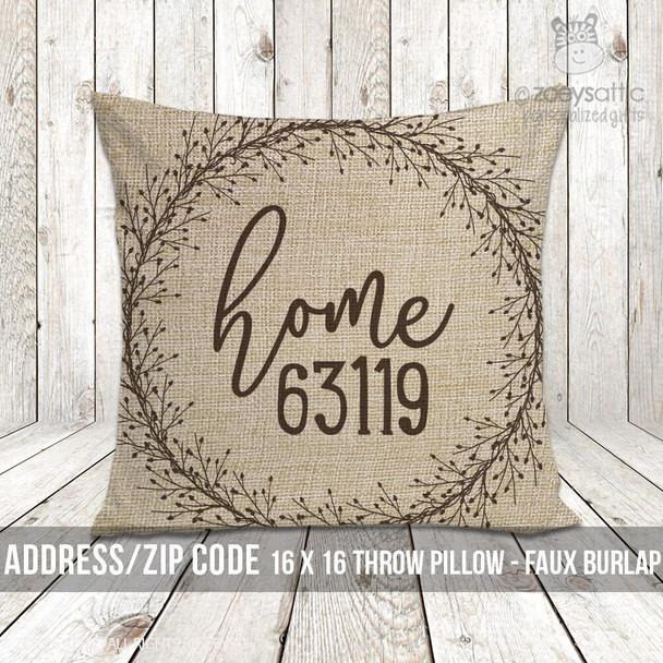 Home zip code faux burlap porch pillow