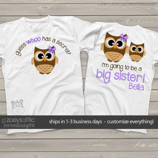 Big sister to be owl secret pregnancy announcement  Tshirt