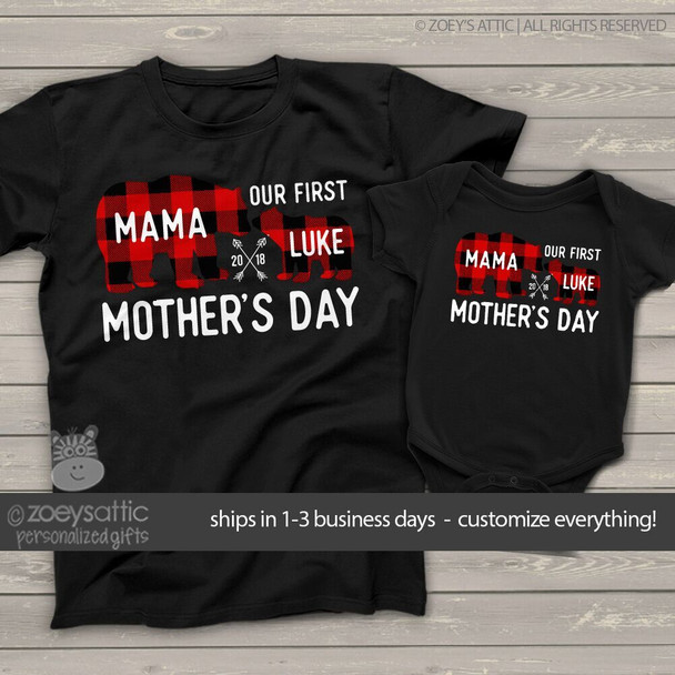 First Mothers Day mama baby buffalo plaid bear matching DARK shirt gift set