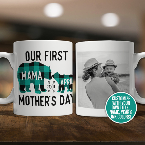 First Mothers Day buffalo plaid bear coffee mug