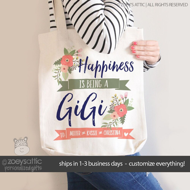 Happiness is being a GiGi grandma tote bag