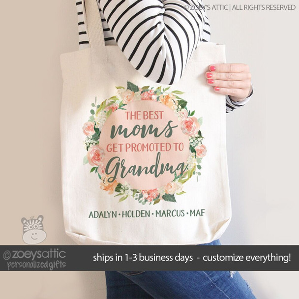 Best moms get promoted to grandma floral wreath tote bag