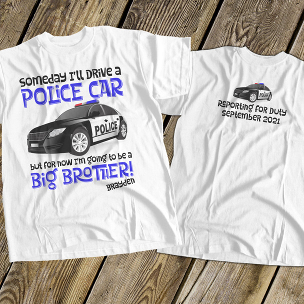Big brother to be police car pregnancy announcement Tshirt