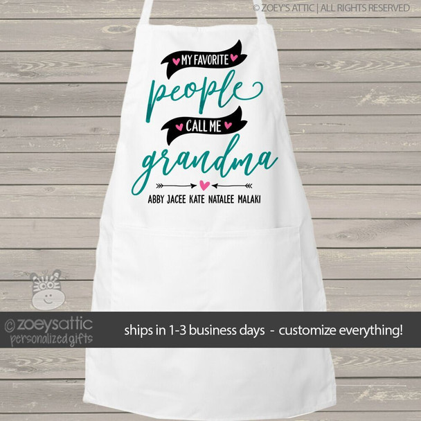 My favorite people call me grandma adult personalized bib apron