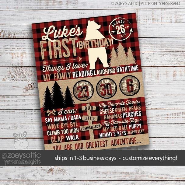 First birthday bear lumberjack buffalo plaid poster