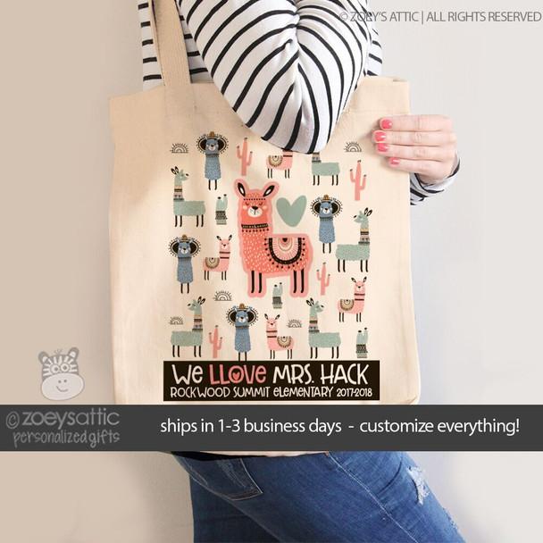 Teacher love llama personalized tote bag