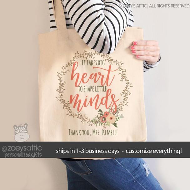 Teacher big heart shape little minds vine wreath tote bag