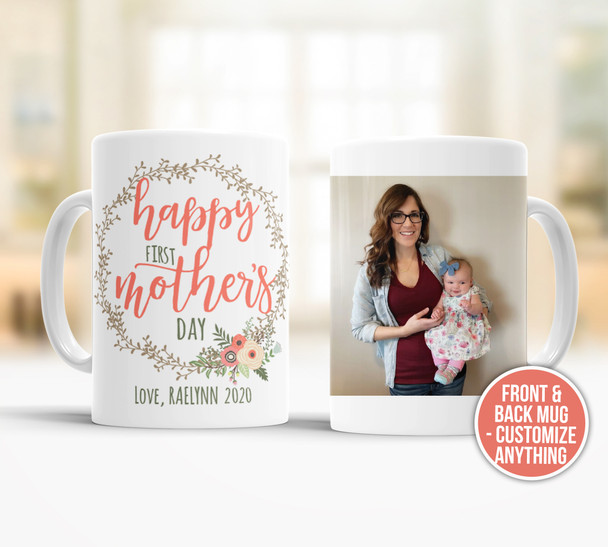 First Mother's Day vine wreath optional photo coffee mug