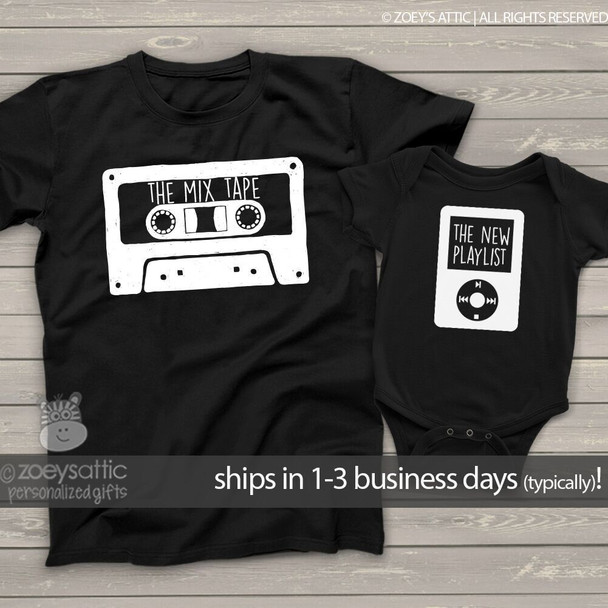 The mix tape parent child two dark shirt gift set