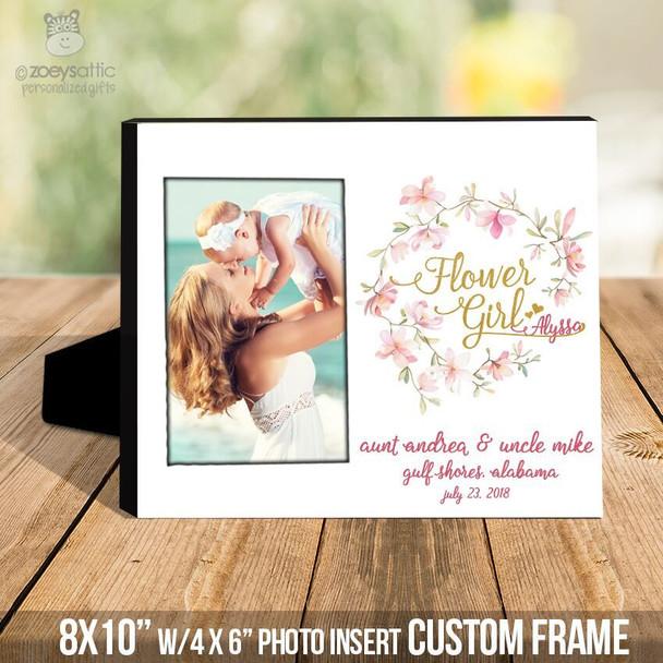 Flower girl wreath gold foil or glitter  photo frame