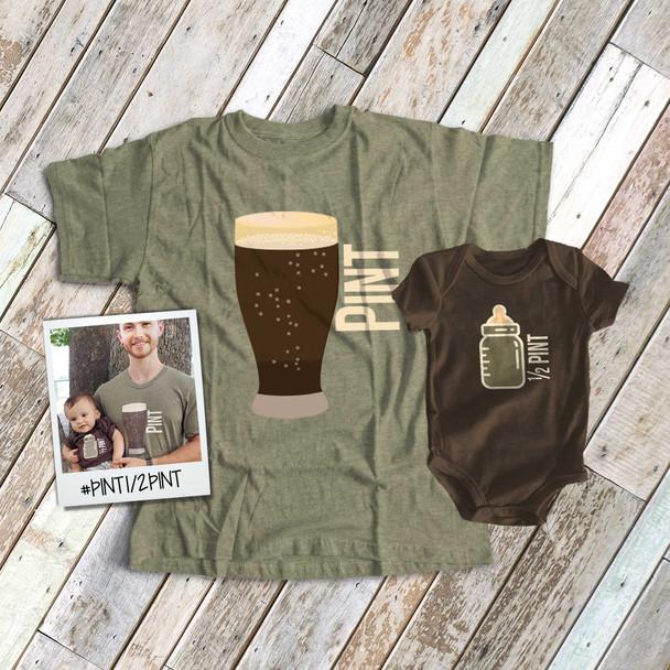 Pint and half pint baby bottle matching DARK shirt gift set
