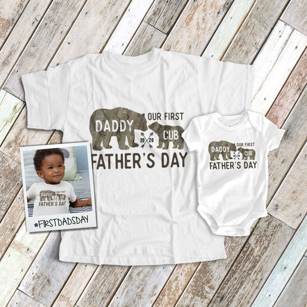 First Fathers Day daddy baby cub wood bear matching shirt gift set