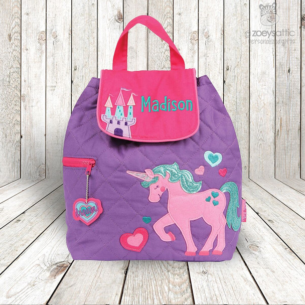 Unicorn personalized embroidered QUILTED backpack by Stephen Joseph