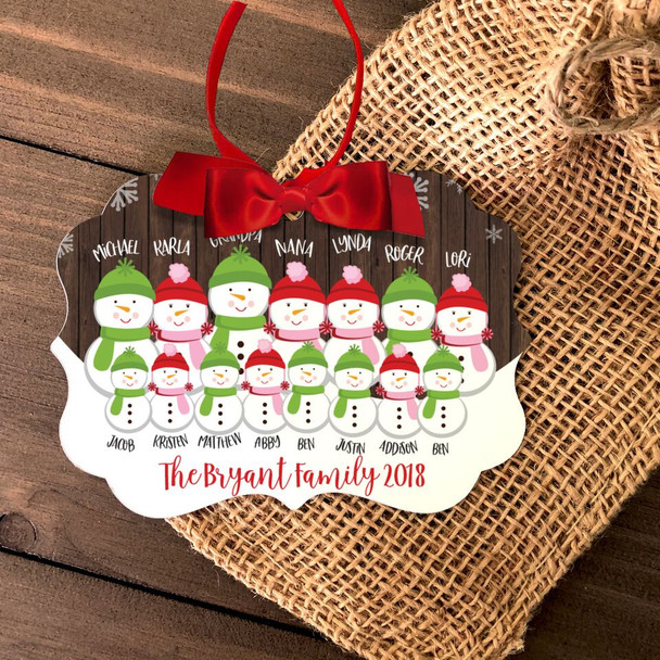 Christmas snowman large family personalized ornament