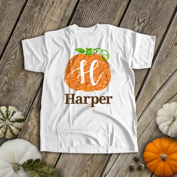 Fall glitter pumpkin personalized Tshirt