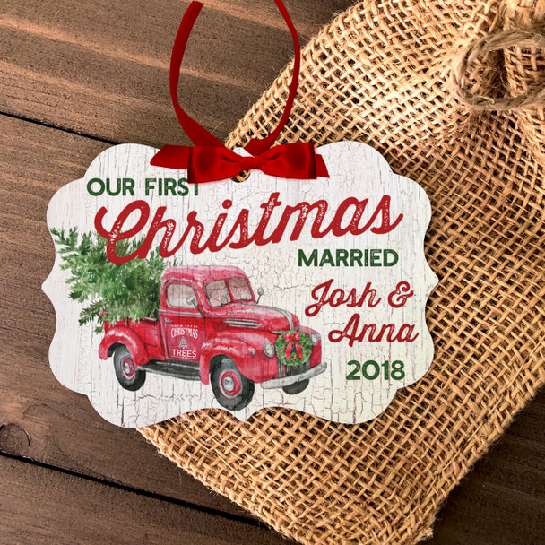 First Christmas married vintage truck tree farm ornament