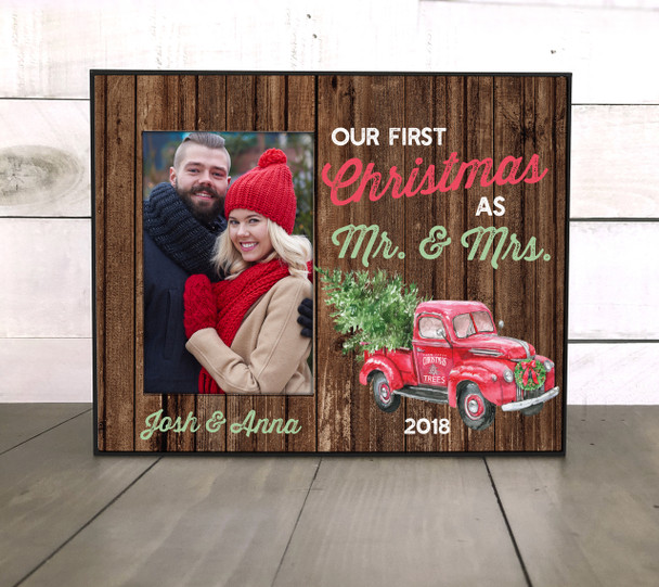 First Christmas married vintage truck tree farm faux wood photo frame