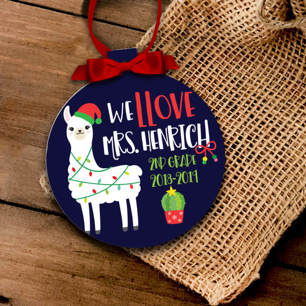 Teacher love llama personalized Christmas ornament