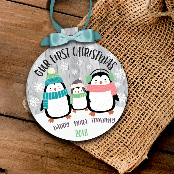 Our First Christmas penguin family ornament