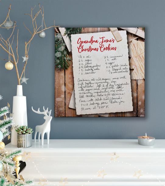 Christmas handwritten keepsake recipe custom wall art on wood frame