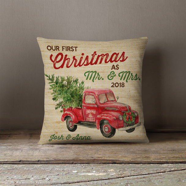 Our first Christmas as mr. and mrs. vintage truck pillowcase pillow