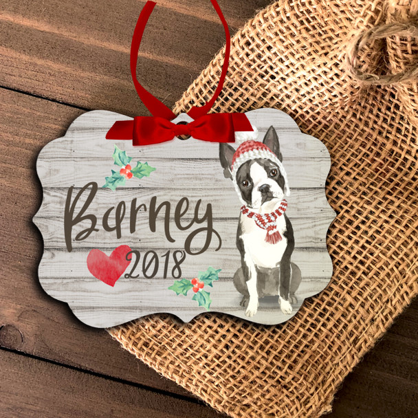 Boston terrier personalized Christmas ornament